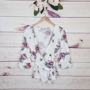 Maurices | Flower Waist Wrap Blouse S